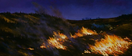 Fire at Night, oil on canvas